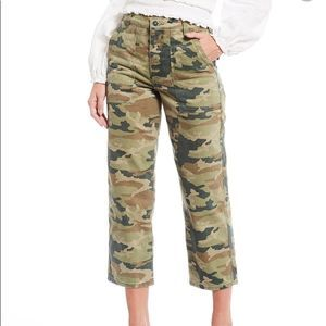 Free People Remy Camo High-Waisted Wide Jeans